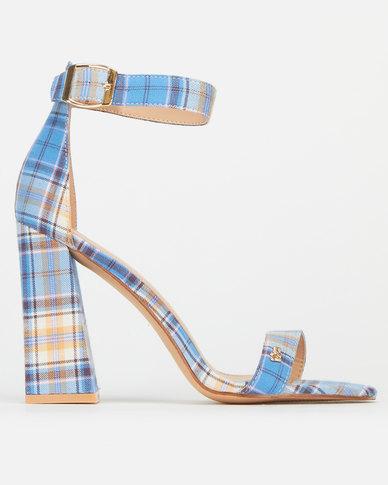 Plum Plaisy Check Ankle Strap Block Heels Blue