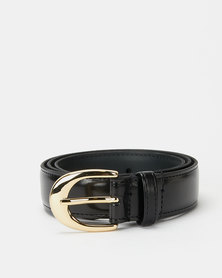 Paris Belts Leather Small Western Buckle Belt Black