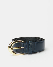 Paris Belts Navy Leather Small Western Buckle Belt