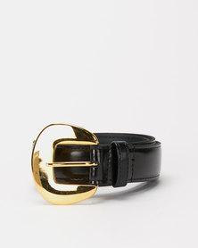 Paris Belts Leather Western Buckle Plain Belt Black