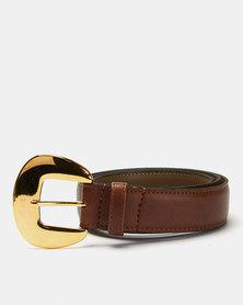 Paris Belts Leather Western Buckle Plain Belt Tan