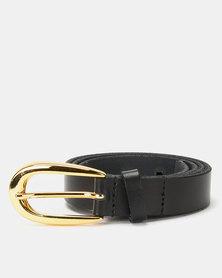 Paris Belts Leather Gold Buckle Skinny Belt Black