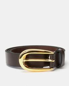 Paris Belts Leather Gold Buckle Skinny Belt Brown