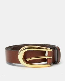 Paris Belts Leather Gold Buckle Skinny Belt Tan