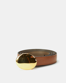 Paris Belts Leather Gold Oval Buckle Skinny Belt Tan