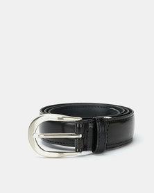 Paris Belts Leather Silver Buckle Mock Croc Belt Black