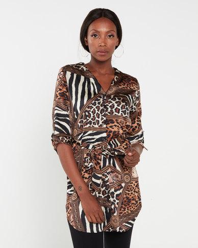 QUIZ Satin Animal Print Shirt Dress Brown and Black