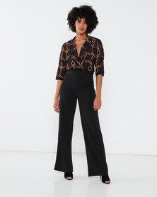 QUIZ Chain Print Jumpsuit Black/Gold