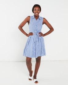QUIZ Stripe Dip Hem Dress Blue And White
