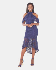QUIZ Crochet High Neck Dip Hem Maxi Dress Navy