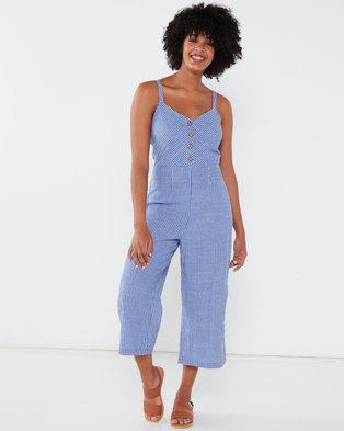 QUIZ Stripe Button Front Culotte Jumpsuit Blue/White