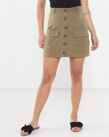 QUIZ Woven Utility Skirt Khaki