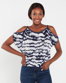 QUIZ Tie Dye Cold Shoulder Top  Navy and White