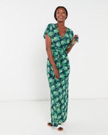 QUIZ Palm Print V Neck Maxi Dress Green and Navy
