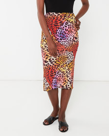 QUIZ Multicoloured Leopard Print Skirt