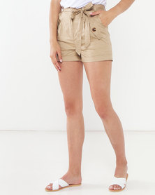 QUIZ Woven Belted Shorts Stone