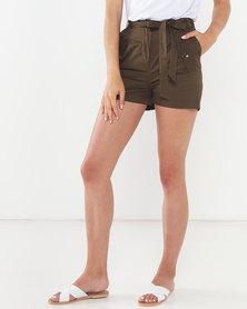 QUIZ Woven Belted Shorts Khaki