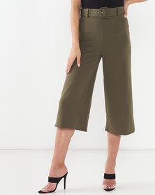 QUIZ Belted Culotte Trousers Khaki
