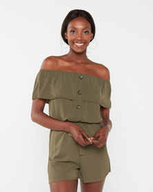 QUIZ Khaki Bardot Overlay Button Front Playsuit
