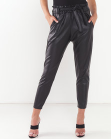 QUIZ PU Paper Bag Trousers Black