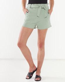 QUIZ Paper Bag Belted Shorts Sage Green