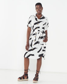 London Hub Fashion Abstract Print Midi Shirt Dress With Mock Horn Buttons And Pockets Black/White