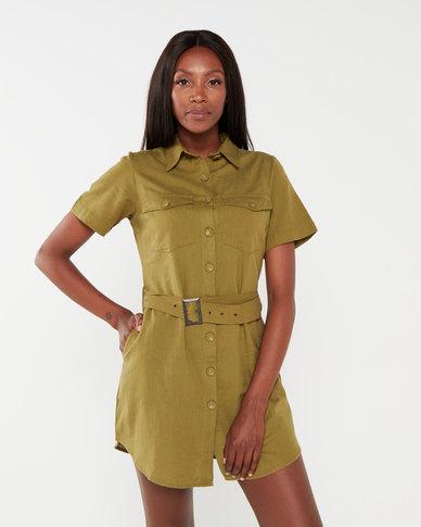 London Hub Fashion Linen Look Utility Dress Khaki