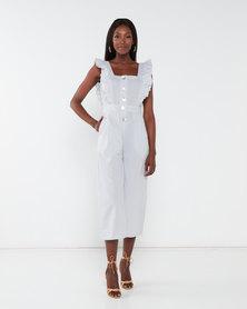 London Hub Fashion Gingham Ruffle Frill Jumpsuit Grey