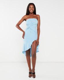London Hub Fashion Front Twist Detail Frill Hem Bandeau Dress Light Blue