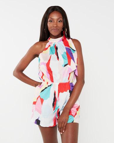 London Hub Fashion Geometric Print Tie Neck Playsuit  Multi