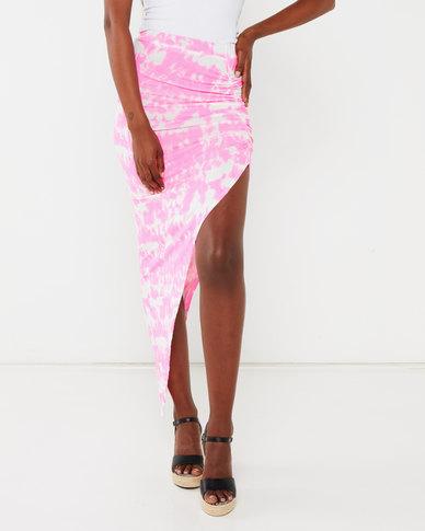 London Hub Fashion Tie Dye Asymmetric Skirt Pink