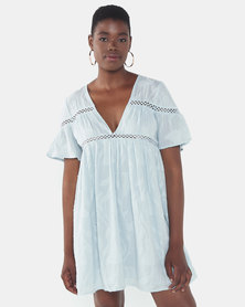 London Hub Fashion Cotton Crochet Trim Smock Dress Pale Blue