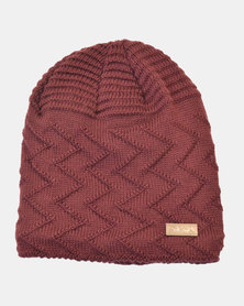 SKA Knitted Lined Long Beanie Maroon