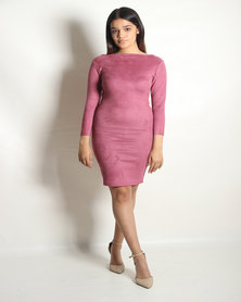 INFIN8TI Suede Midi Dress