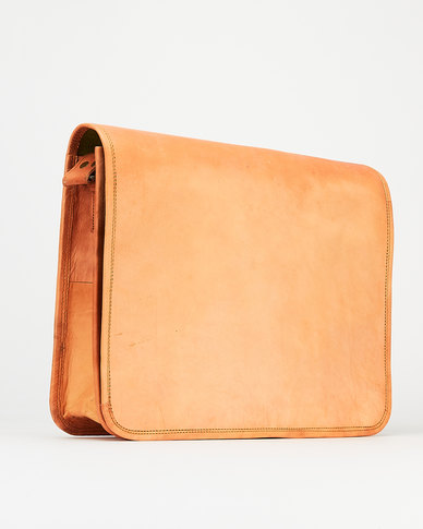 Buyitall.today Leather Crossbody Messenger Bag - Light Brown 12