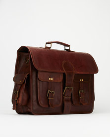 "Buyitall.today Leather 4 pocket Laptop/Messenger Bag 15""- Dark Brown"