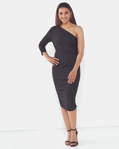 AX Paris One Sleeve Slinky Midi Dress Black