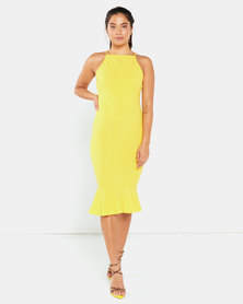 AX Paris Bodycon Midi Dress With Frill Hem Yellow