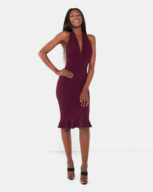 AX Paris Backless Fishtail Midi Dress Plum