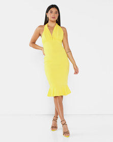 AX Paris Backless Fishtail Midi Dress Yellow