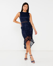 AX Paris Fishtail Hem Lace Midi Dress Navy