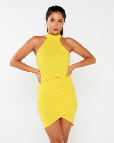 AX Paris Bodycon High Neck Ruched Dress Yellow