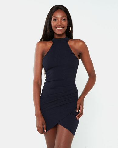AX Paris Bodycon High Neck Ruched Dress Navy