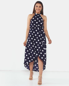 AX Paris Polka Dot Print High Neck Midi Dress Navy