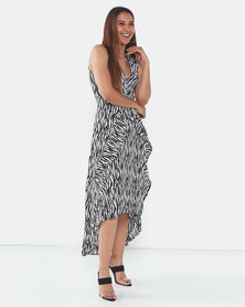 AX Paris Zebra Animal Print Midi Dress Neutrals