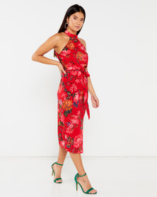 AX Paris Floral Wrap Skirt Cut In Neck Dress Red