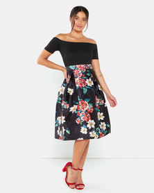 AX Paris Floral 2 In 1 Skater Midi Dress Black