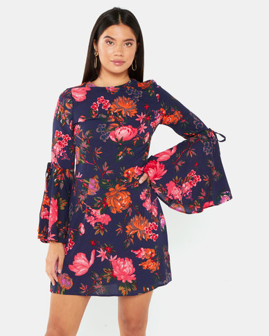 AX Paris Floral Dress With Statement Sleeve Navy