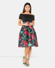 AX Paris Floral Skater Dress Black