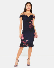 AX Paris Floral Strappy Frill Hem Dress  Navy